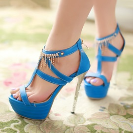 PU Tassels Covering Heel Stiletto Heel Sandals
