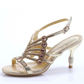 Chic Shiny T-Strap Heel Sandals