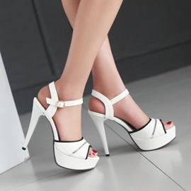 Candy Color Peep Toe Two-Piece Heel Sandals