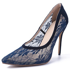 Pointed Toe Lace Patchwork Classic Pumps