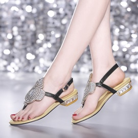 Chic Crystal Thong Flat Sandals