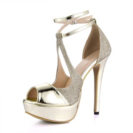 Gold Peep Toe Ankle-Straps Dress Sandals