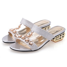 Beading Open-Toe Slip-On Sandals