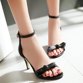 Solid Color PU Open-Toe Sandals Plus Size Avilable
