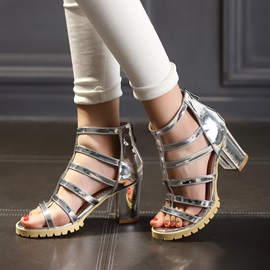 Solid Color Chunky Heel Back-Zip Sandals