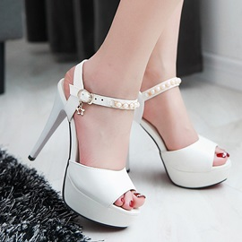 Beading PU Peep-Toe Sandals