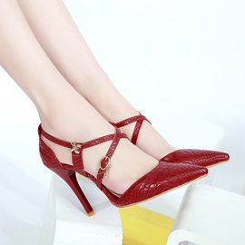 PU Pointed Toe Buckles Classic Pumps