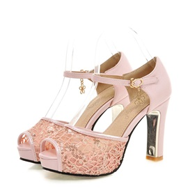 Sequins Lace Peep-Toe Chunky Heel Sandals