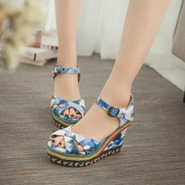 Floral Printed Peep-Toe Crochet Wedge Sandals