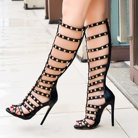 Solid Color Rivets Stiletto Heel Roman Sandals