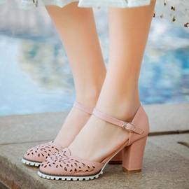 PU Hollow Chunky Heel Sandals