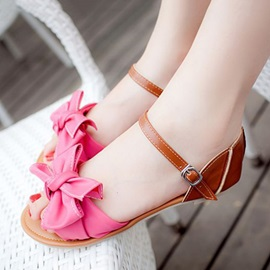 Bowtie Covering Heel Flat Sandals