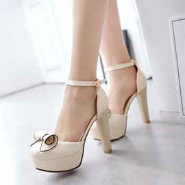 Bowtie Ankle Strap Chunky Heel Platform Pumps