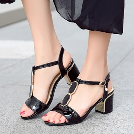 Solid Color T-Strap Open-Toe Sandals