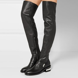 PU Beads Sequin Side Zipper Thigh High Boots