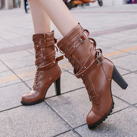 PU Buckle Cross Strap Rivet Women's Boots