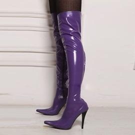 Patent Leather Pointed Toe Stiletto Women's Boots
