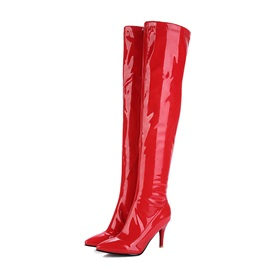 PU Pointed Toe Side Zipper Stiletto Women's Thigh High Boots
