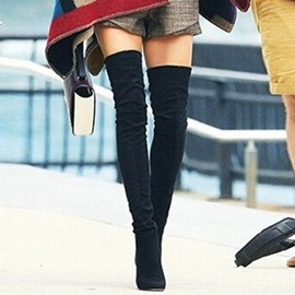Faux Suede Slip-On Stiletto Thigh High Boots for Women