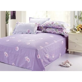 Dreamlike Purple Printed Cotton Sheet with Pink Florals