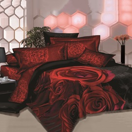 Unique Red Rose Printed 4 Piece Sets House Bedding Sets