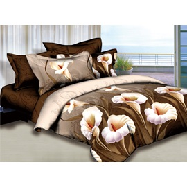 White Lily Printed 4 Piece 100% Cotton Bedding Sets