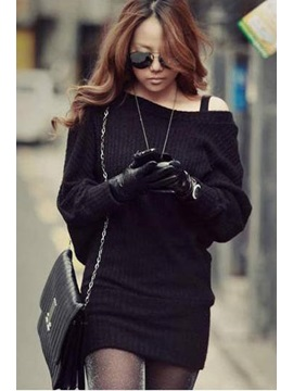 Slim Stripes Knit Bat Sleeves All-matched Sheath Sweater