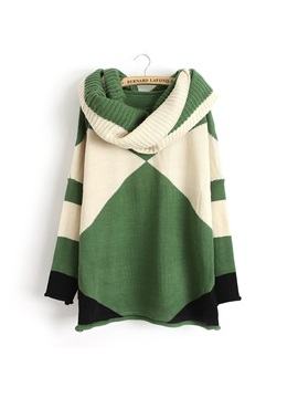 Stylish New Loose Color Block Round Neckline Long Sleeves Casual Sweater