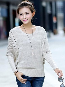 New Multi Color Bat Sleeve Cut-outs Sweater