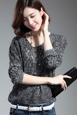 Multi Color Loose Long Sleeve V-neckline Cut-Outs Sweater