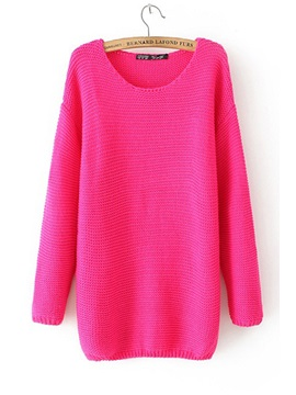 Candy Color Long Sleeve Round Neck Sweater