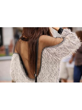 Chic Long Sleeve Patchwork Mesh Hollow Sweater