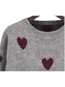 Multi- Color Heart Pattern Print Sweater