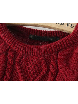 Red Plaid Round Neck Knitwear