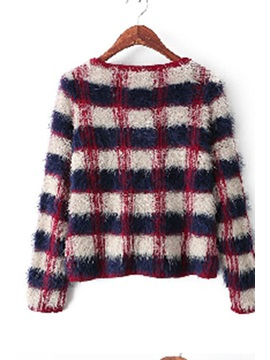 Plaid thicken long-sleeved round neck sweater