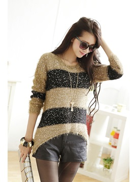 Long Sleeve Striped Sequin Round Neck Sweater