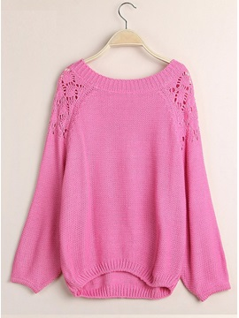 Solid Color Backless Bowtie Hollow Sweater