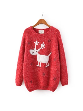 Deer Print Round Neck Knit Sweater