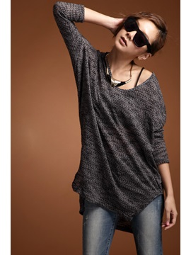 Round Neck Asymmetrical Hem Split Knit Sweater