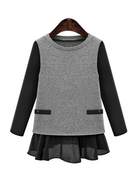 Stylish  Chiffon  Hem  Sweater
