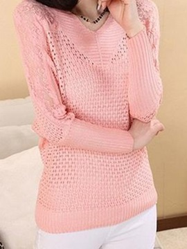 Chic Lace Decoration Sleeves V-Neck Sweater