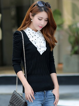 Stylish Ruffled Collar Slim Sweater