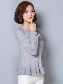 Stylish Hem Raglan Sleeves Sweater