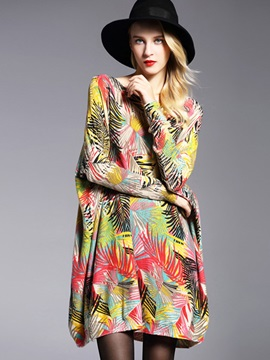 Chic Print Mid-Length Loose Knitwear