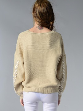 Stylish Ribbon Decorated Loose Sweater