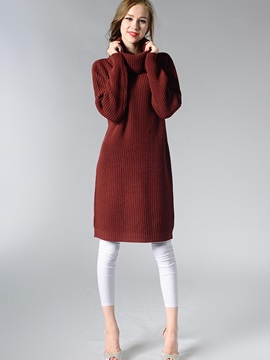 Simple Multi Color Turtleneck Mid-Length Sweater