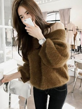 Stylish Slash Neck Loose Sweater