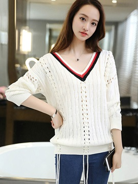 Korean Style V-Neck Hollow Loose Sweater