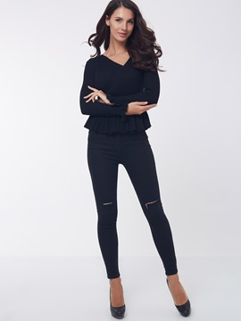 Stylish Plain V-Neck Slim Sweater