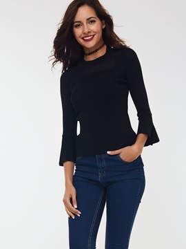 Stylish Plain Flare Sleeve Slim Sweater